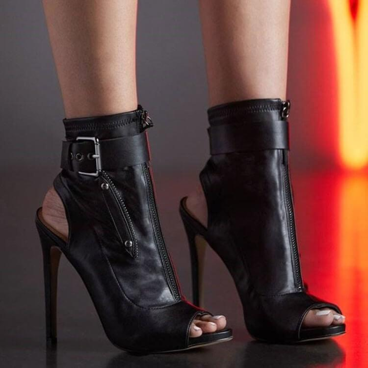 Casual Leather Buckle Peep Toe Zipper High Heel Boots