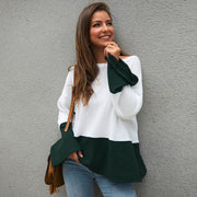 Colorblock Patchwork Bell Sleeve Pullover Sweater