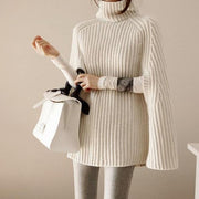 Solid Color High Neck Long Batwing Sleeves Loose Sweater