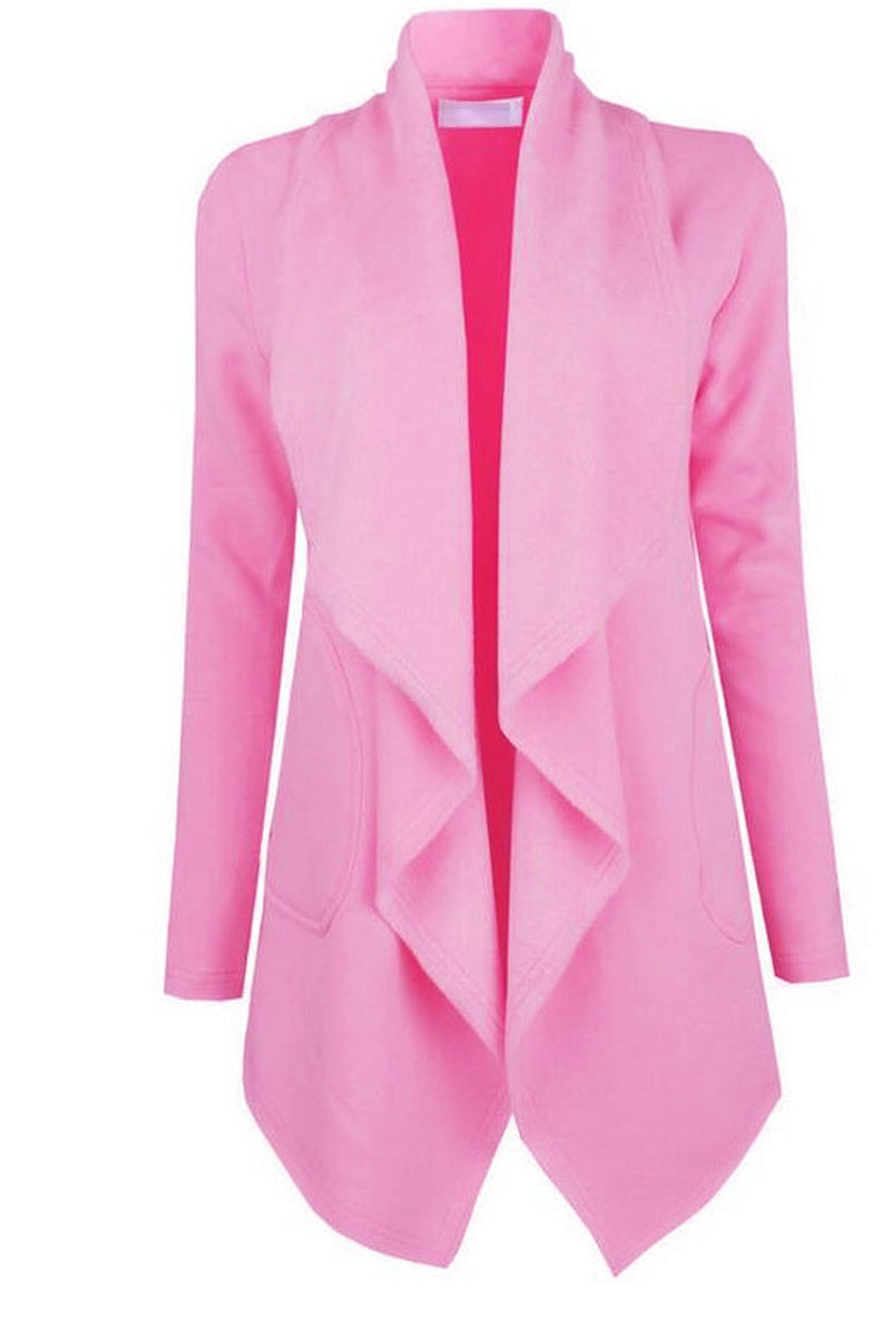 Pure Color Ruffles Lapel Front Wide Long Coat