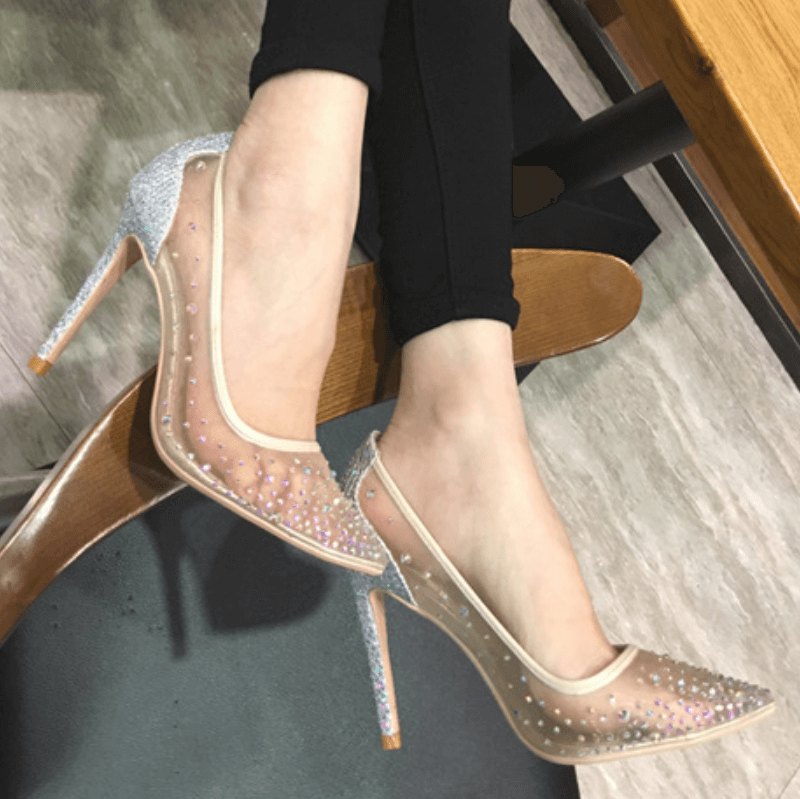 Mesh Rhinestone See Through High Heel Pumps