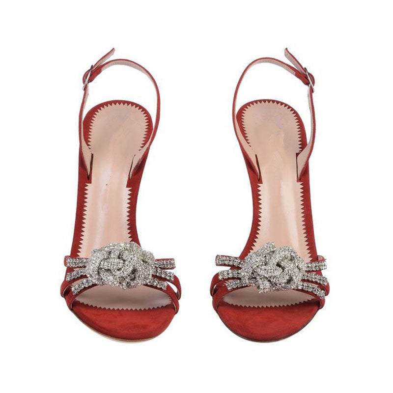 Rhinestone Flower Open Toe High Heel Sandals