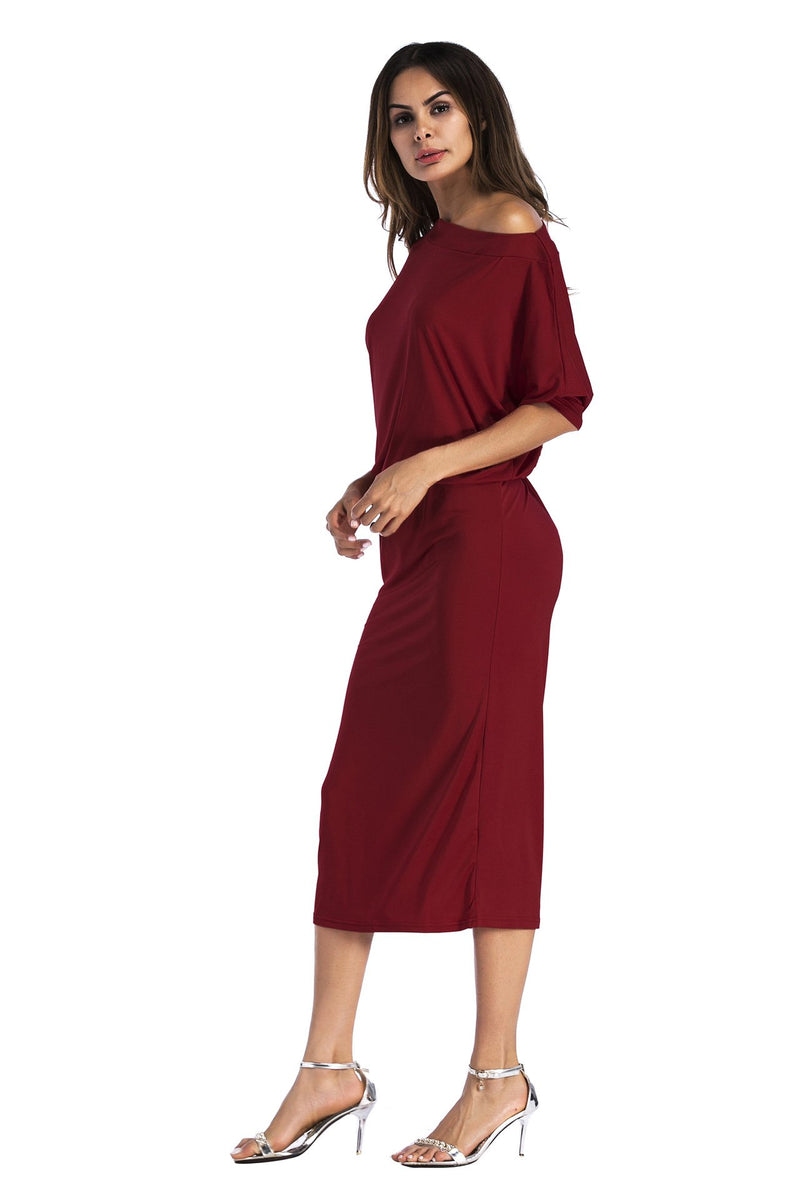 Pure Color Long Sleeves One Shoulder Knee-length Dress
