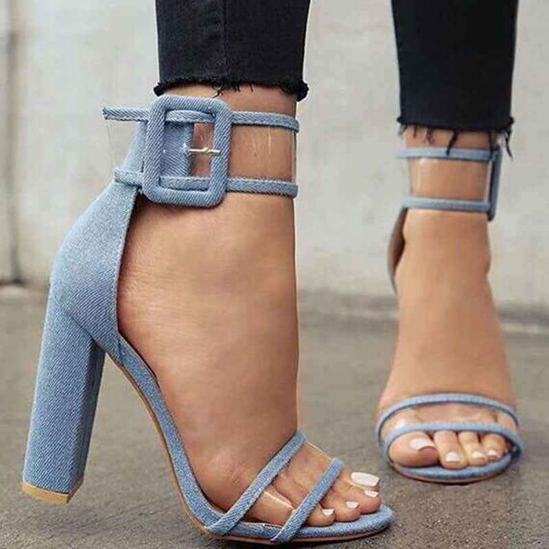 Chunky Heel Clear Buckle Open Toe Sandals