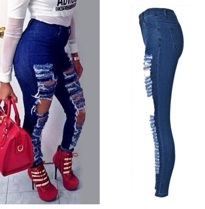 Ripped Beggar Street Straight Elastic Slim Plus Size Jeans - Meet Yours Fashion - 4
