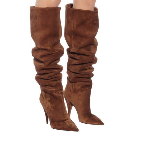Leather Point Toe Fold High Heel Knee High Boots