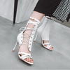 Fashion PU Strap Open Toe Cutout Ankle Sandals