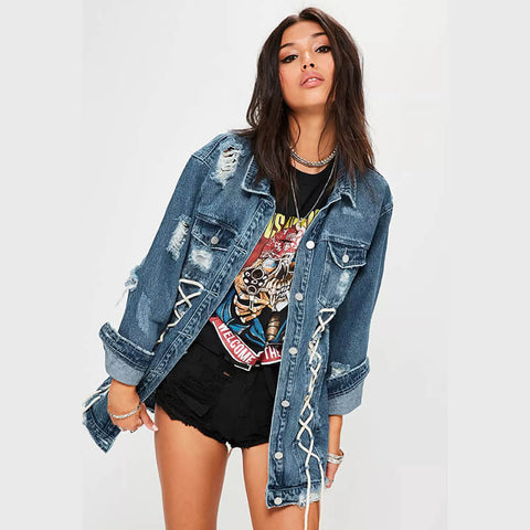 Ripped Denim Lace Up Shirt Jacket