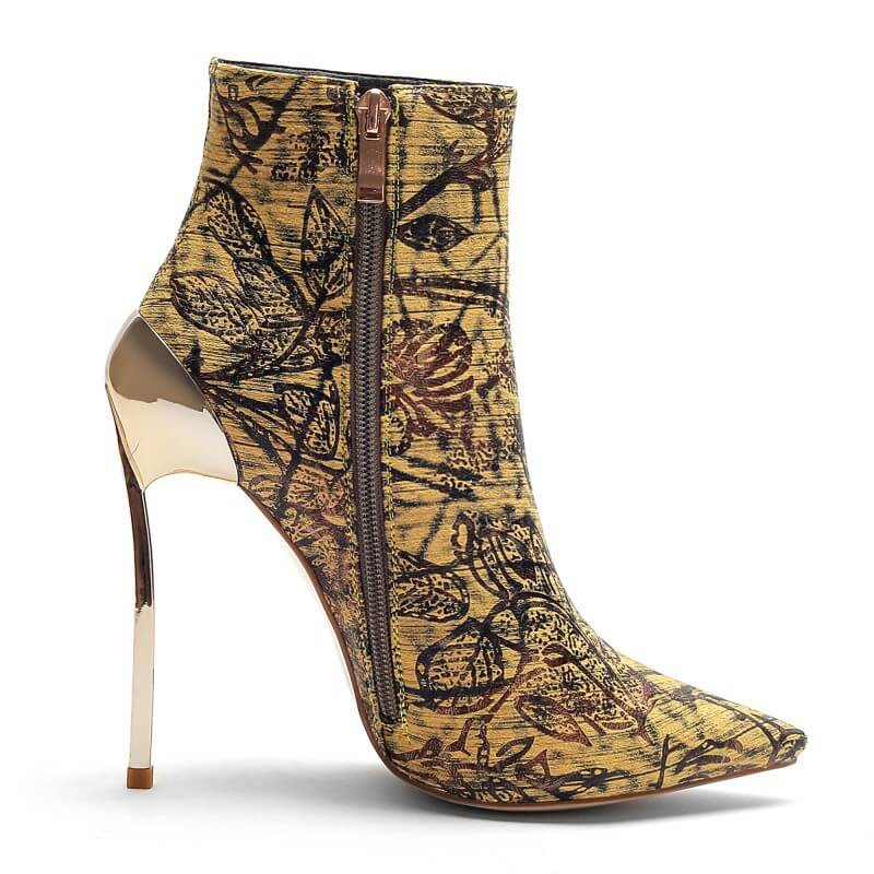 Sexy Print Zipper Pointed Toe Ankle Boots