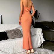 Spaghetti Strap Backless Plain Bodycon Midi Dress