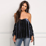 Velvet Strapless Long Straps Sleeves Loose Blouse