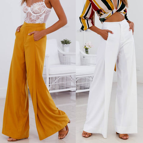 Wide Leg High Waist Loose Pockets Pants