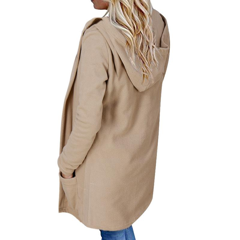 Hooded Loose Long Full Sleeve Solid Coat