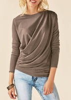 Loose Scoop Solid Color Drapped Loose Blouse