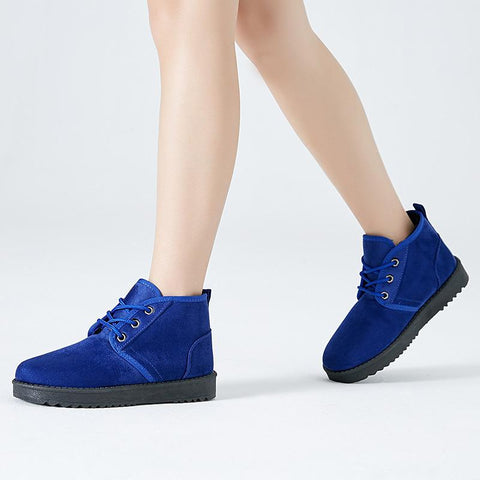 Warm Velvet Pure Color Flat Short Snow Boots