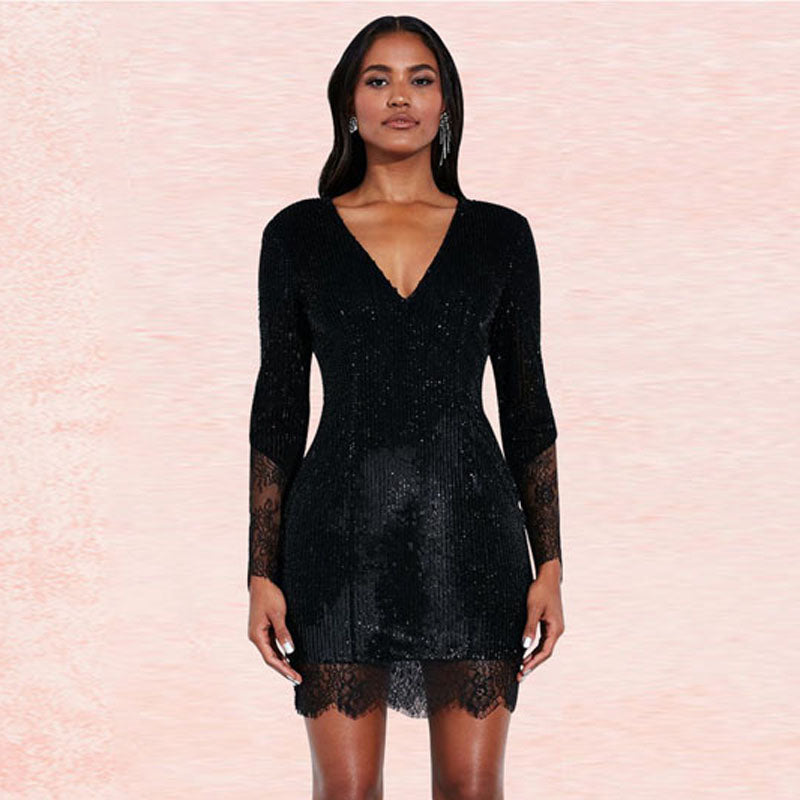 See Though Lace Beaded Short Dress