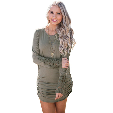 Solid Color Color Loose Long Sleeves Scoop Irregular Short Dress