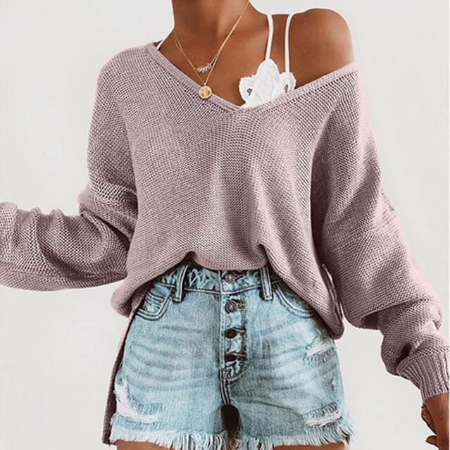 Oversized Pure Color V Neck Knit Top
