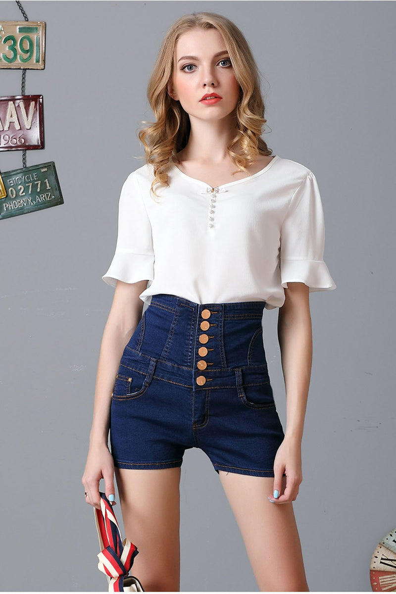 High Waist Pure Color Buttons Denim Slim Shorts