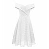 Off Shoulder Boat Neck Lace A-Line Dress