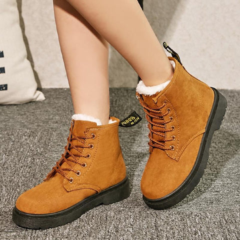 Warm Thick Round Toe Lace Up Platform Flat Short Snow Boots