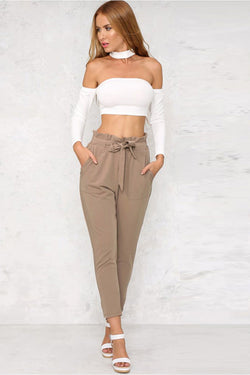 Solid Color Straps Belt 9/10 Skinny Casual Pants