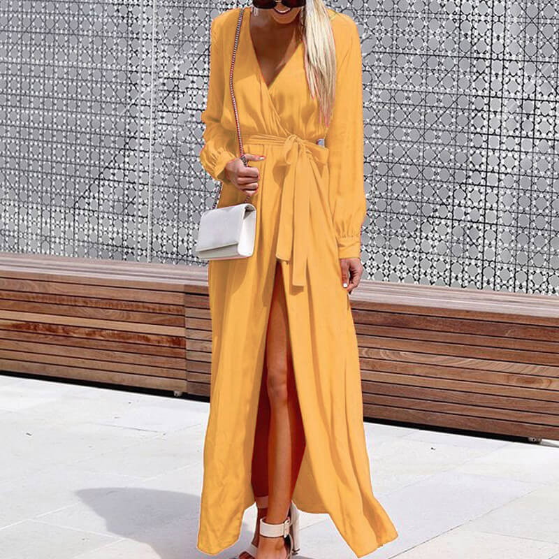 Strappy Tie Waist Slit Wrap Maxi Dress