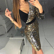 Color Block Sequin Bodycon Dress