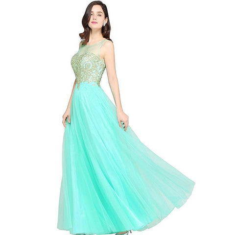 Mesh Transparent Applique Pleated Long Party Dress