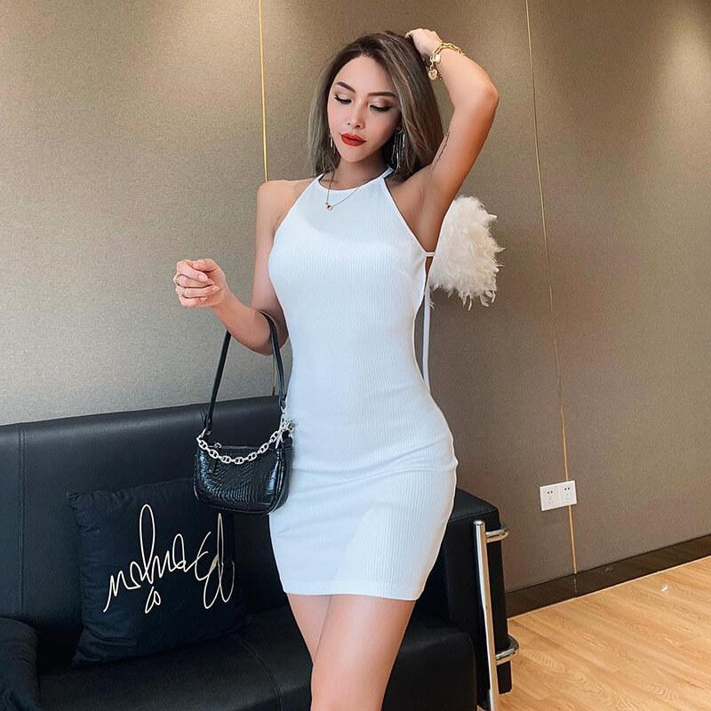 Backless Lace Up Bodycon Short Dress