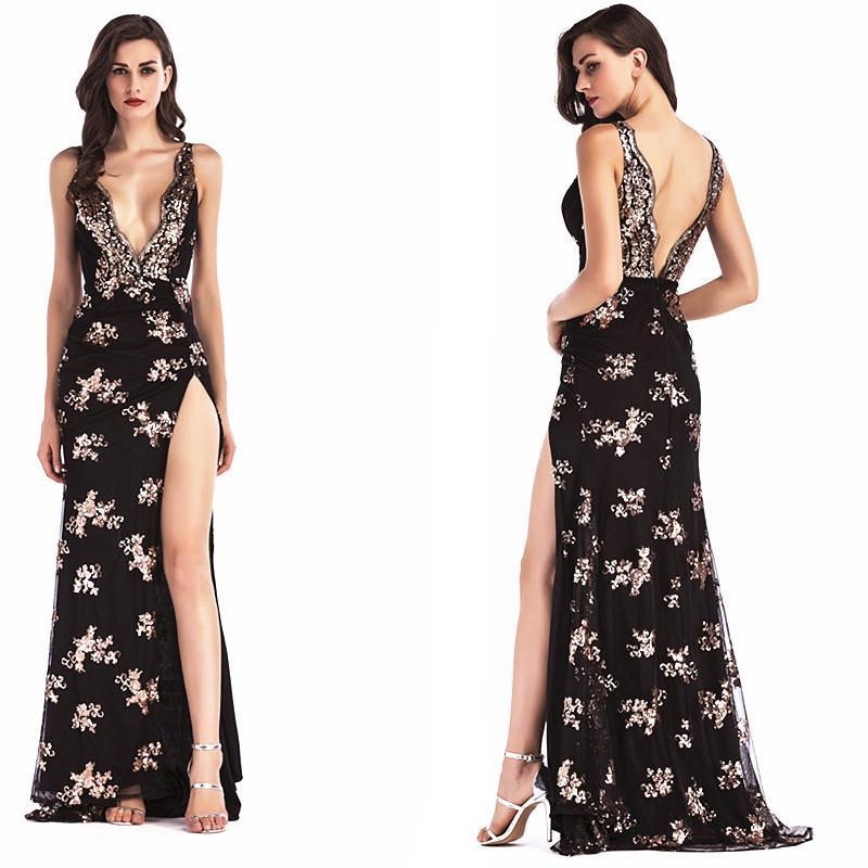 Irregular Backless Sequins Deep V-neck Spaghetti Straps Long Party Dress