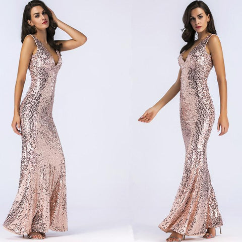 Sequins Straps V-neck Long Party Dress