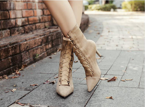 Stiletto Heel Suede Pointed Toe Straps Lace Up Zipper High Heels