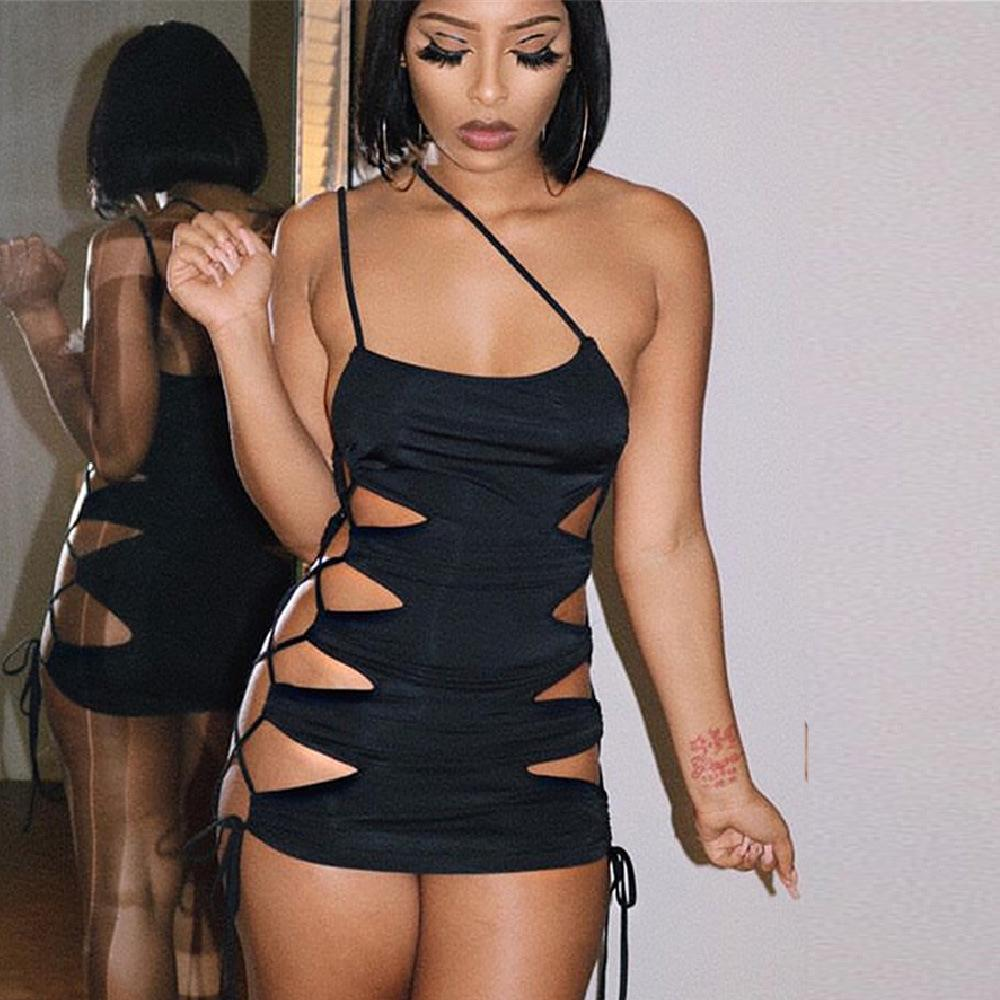 Black Hollow Out Nightclub Dress