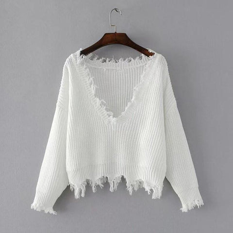 V-neck Pure Color Long Sleeves Irregular Short Sweater