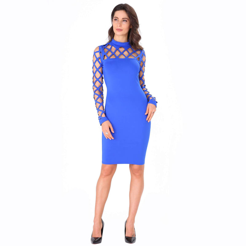 Long Sleeves Hollow Out Knee length Dress