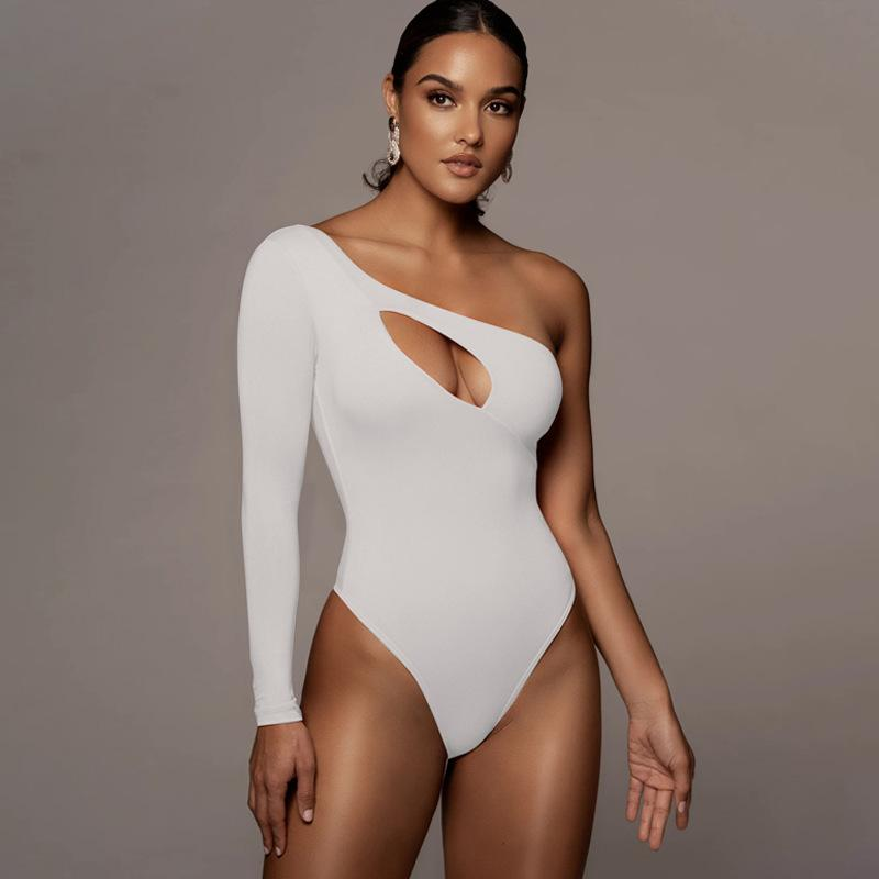 Cut Out One Shoulder Long Sleeve Jumpsuit