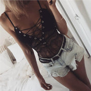Lace Slim Spaghetti Straps Transparent Elastic Short Jumpsuits