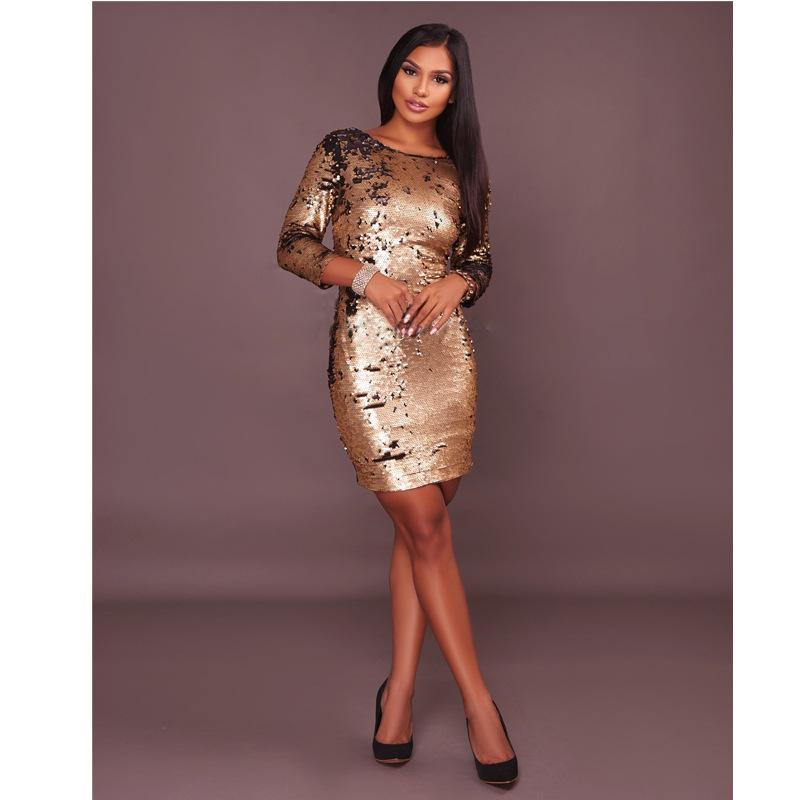 Sequins Round Neck Long Sleeve Short Bodycon Blackless Party Dress