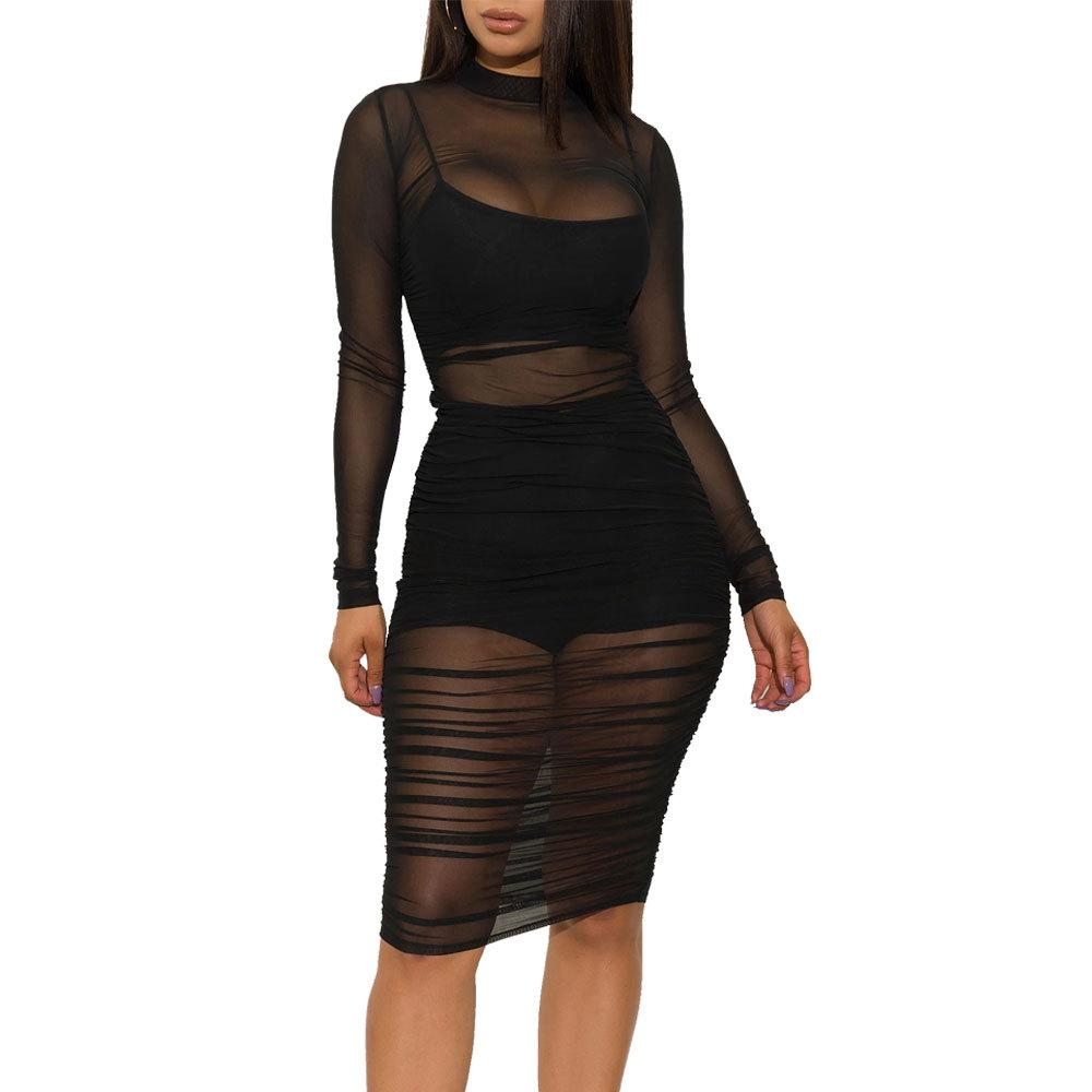 Sexy Mesh Long Sleeve Party Dress(Dress + Vest + shorts 3-piece set)