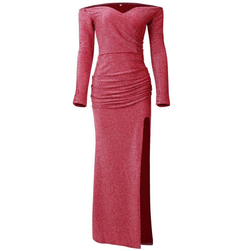 High Open Fork and Slim Button V-neck Long Sleeves Bright wire Long Party Dress