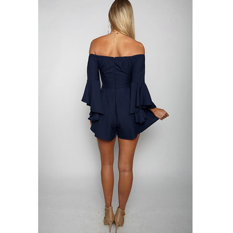 Strapless Off Shoulder Bell Sleeves Short Jumpsuit