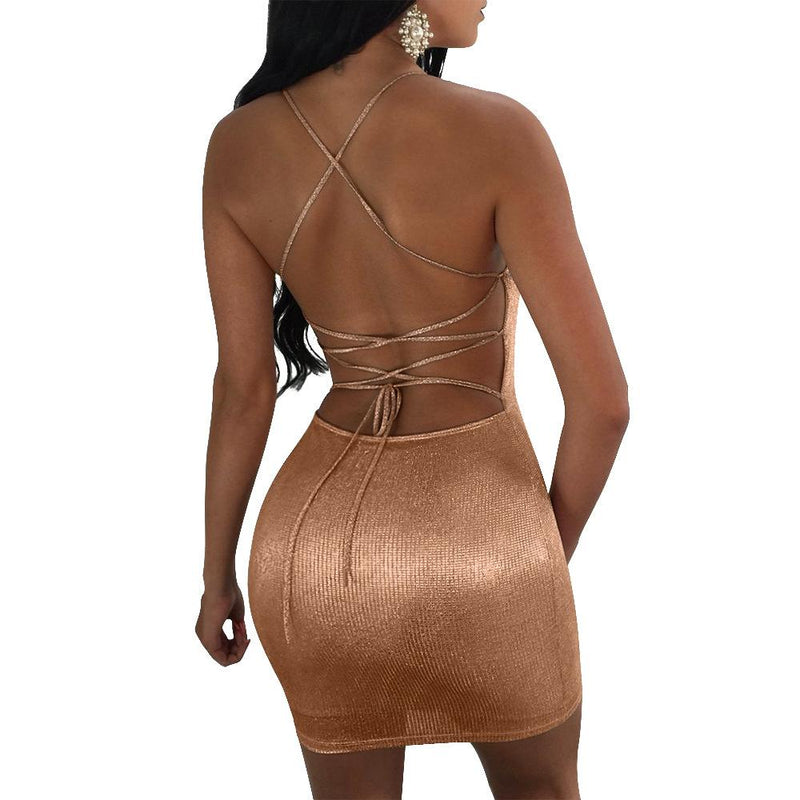 Sexy Sleeveless Backless Sexy Club Bodycon Skinny  Bronzing Dress