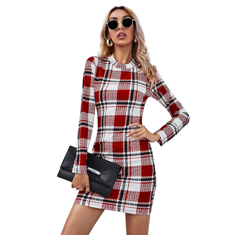 Round Neck Long Sleeve Pencil Plaid Dress