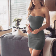 Strapless Bodycon Open Back Sheath Pure Color Short Dress