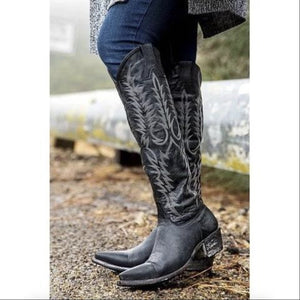 Vintage Women Knee Mid-Calf Boots Leather Riding Cowgirl Boots