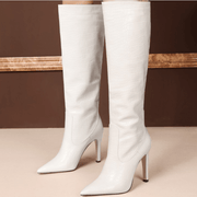 Leather Point Toe Knee High Knight Boots