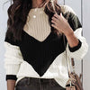 Chic Colorblock Knit Pullover Sweater