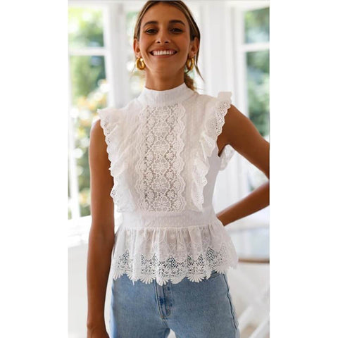 Lace Sleeveless T-shirt