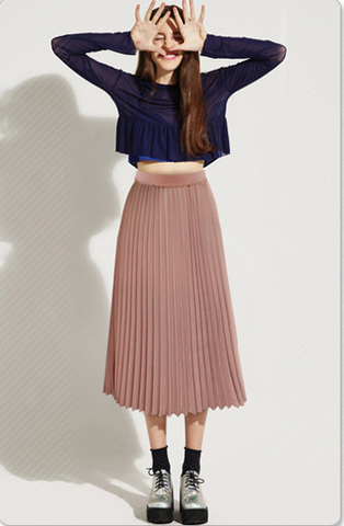 Solid Pleated Long Slim Skirt - Bags in Cart - 1